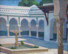 Mathilde ARBEY - Peinture - Le patio de la Villa Abd-el-Tif à Alger