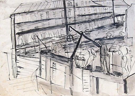 Erich HARTMANN - Dessin-Aquarelle - #19917: Arbeiter auf Baustelle.