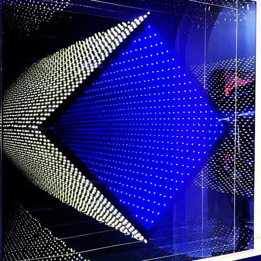 Emmanuelle RYBOJAD - Sculpture-Volume - LED carré losange jaune et bleu