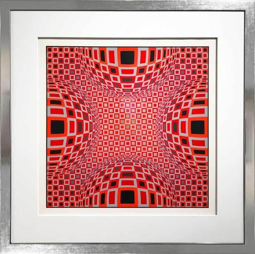 Victor VASARELY - Grabado - Enigma - Four Red Spheres