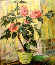 Nathalie GONTCHAROVA - Painting - The pink camellia