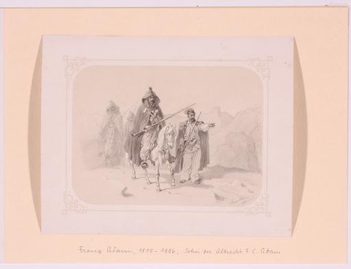 """Franz ADAM - Dibujo Acuarela - """"Balkan Warriors"""", 1851, Drawing"""