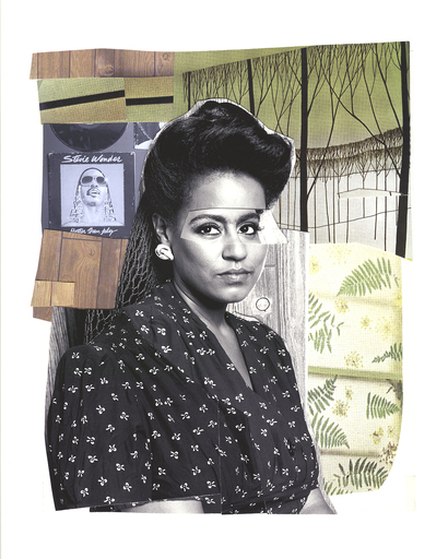 Mickalene THOMAS - Estampe-Multiple - Clarivel with Black Blouse and White Ribbon
