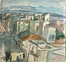 "Hermine DAVID - Drawing-Watercolor - ""Ville tunisienne"""