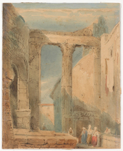 "Samuel PROUT - Drawing-Watercolor - ""The Temple of Minerva, Rome"", watercolor, 1830/40s"
