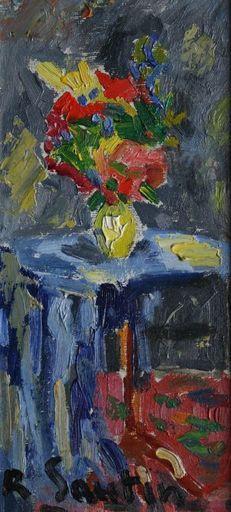 René SAUTIN - Pintura - Intérieur au bouquet de fleurs