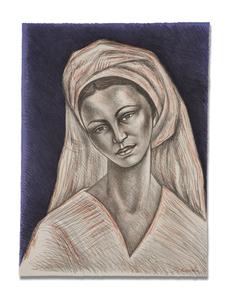 Mujer con Rebozo Blanco by | Raúl ANGUIANO VALADEZ | buy art