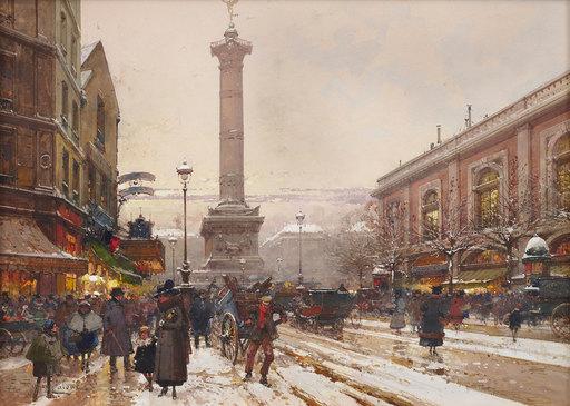 Eugène GALIEN-LALOUE - Painting - La Bastille et l'ancienne gare de Lyon sous la neige