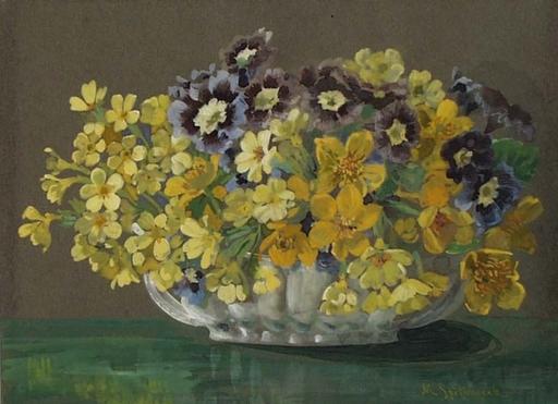 "Maximilian SPILHACZEK - Zeichnung Aquarell - ""Flowers in Vase"" Gouache by Max Spilhaczek,  ca 1910"