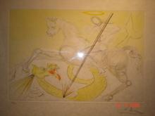 Salvador DALI - Print-Multiple - St Georges terrassant le dragon, superbe estampe aquarellée