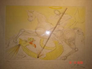 Salvador DALI - Estampe-Multiple - St Georges terrassant le dragon, superbe estampe aquarellée