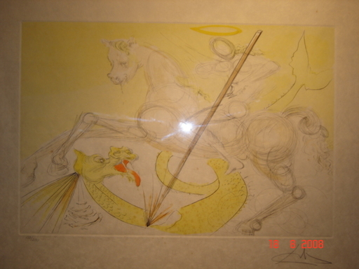 Salvador DALI - Estampe-Multiple - St Georges terrassant le dragon, superbe estampe aquarellée