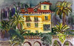 Jean-Pierre CHEVASSUS-AGNES - Dessin-Aquarelle - Villa du Bd. Garavan à MENTON (06) FRANCE