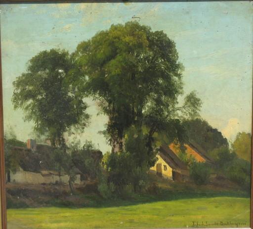 Julius Jacobus BAKHUIJZEN VAN DE SANDE - Pintura - Sommerlandschaft am Dorfrand