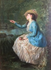 Henri Pierre PICOU - Peinture - Young woman with a fishing rod