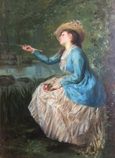 Henri Pierre PICOU - Pintura - Young woman with a fishing rod