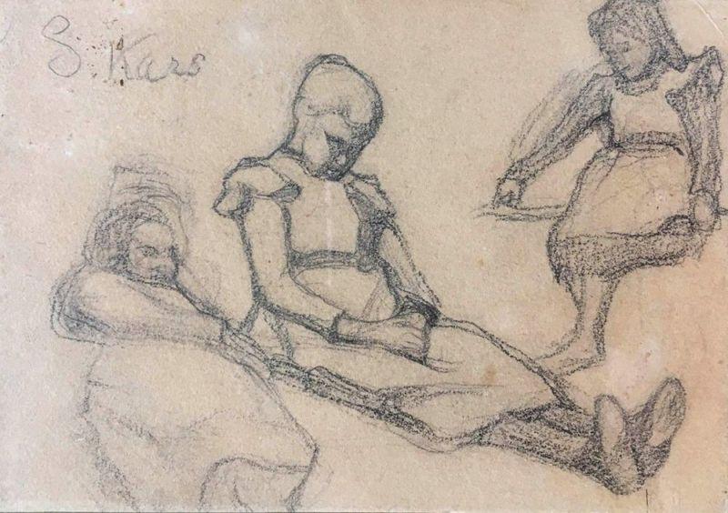 Georges KARS - Dibujo Acuarela -  Girls