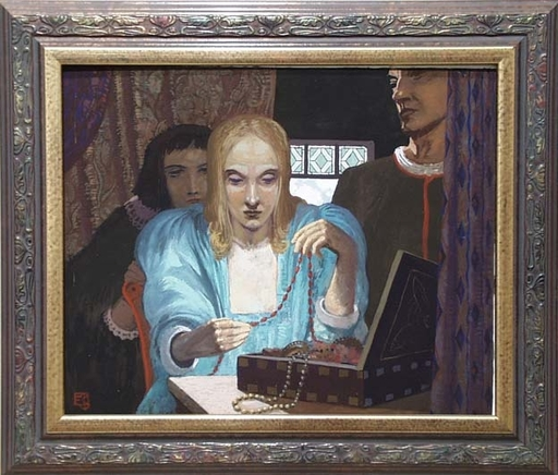 "Erwin STOLZ - Gemälde - ""Treasures"" by Erwin Stolz, Tempera, ca 1925"