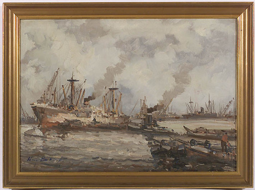 Willem BOS - Painting - Harbor, Oil on Canvas, ca 1970