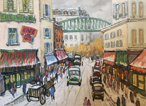 Charles MALLE - Peinture - Paris, métro aérien, rue du Commerce