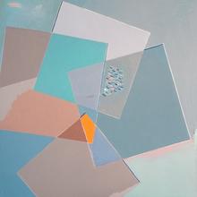 Marcel CALOÏAN - Pittura - Carrés blues-gris sur fond gris-blues