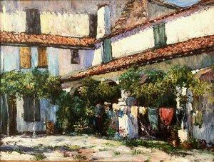 """Louis FLOUTIER - Peinture - """"SECHAGE DU LINGE AUX RECOLLETS (CIBOURE)"""""""