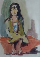 Oskar KOKOSCHKA - Dibujo Acuarela - Gypsy Girl