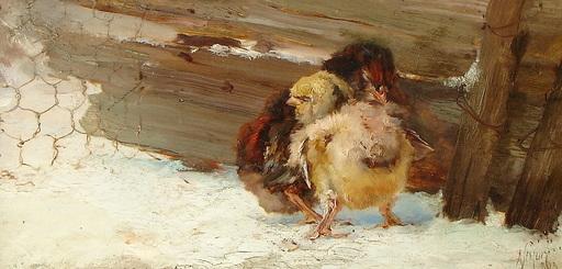 Alejandro SEIQUER - Pintura - poussins - polluelos -Murcia
