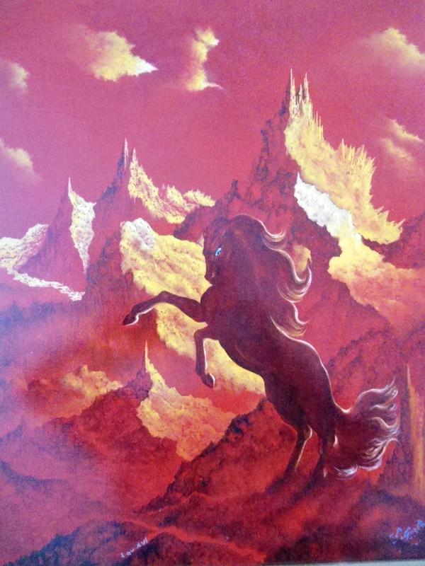 Claude GOZLAN - Peinture - Le cheval rouge.