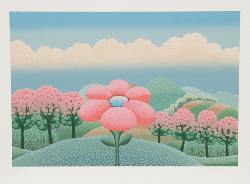 Ivan RABUZIN - Grabado - Pink Flower and Pink Trees