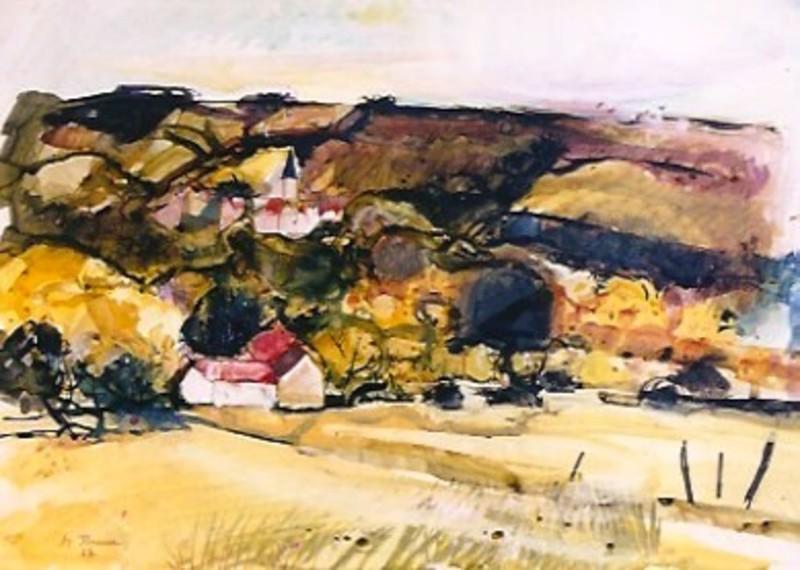 Michel JOUENNE - Dessin-Aquarelle - Village En lle De France