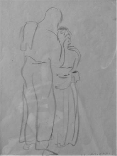 Felice CASORATI - Zeichnung Aquarell - 2 personaggi