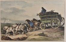 Théodore GÉRICAULT - Grabado - Le Chariot de Charbon - The Coal Wagon