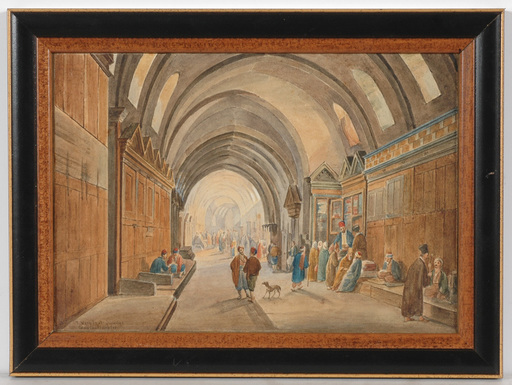 "Frans VERVLOET - Dessin-Aquarelle - Franz Vervloet (1795-1872) ""Market in Constantinople"""