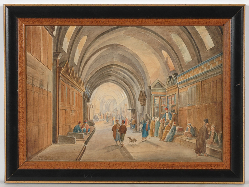 "Frans VERVLOET - Drawing-Watercolor - Franz Vervloet (1795-1872) ""Market in Constantinople"""