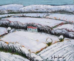 Georges COULOMB - Peinture - Paysage aux  grands arbres enneigés