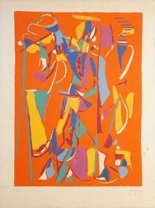 André LANSKOY - Grabado - Composition sur fond rouge