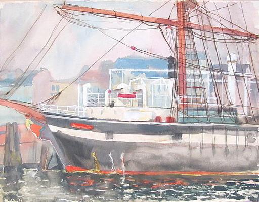 Paul MECHLEN - 水彩作品 - Segelschiff im Hamburger Hafen.