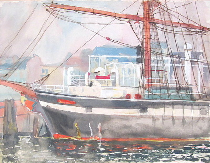 Paul MECHLEN - Drawing-Watercolor - Segelschiff im Hamburger Hafen.