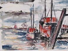 Ehrich TURLACH - Drawing-Watercolor - 2 Boote auf dem Wasser