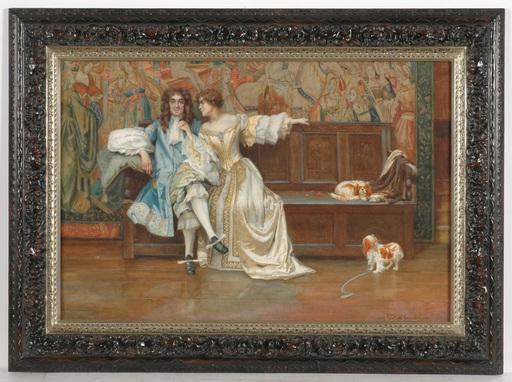 "Rowland HOLYOAKE - Drawing-Watercolor - Rowland Holyoake (fl. 1890-1911) ""Charles II and Nell Gwyn"""