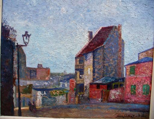 Jean Hubert VILLERS - Painting - MONTMARTRE LA RUE DE L'ABREUVOIR