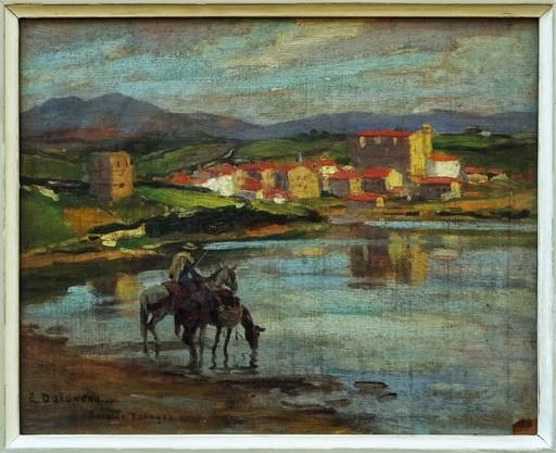Édouard DOIGNEAU - Gemälde - Chevaux et cavalier dans la baie de Pasajes, Pays-Basque