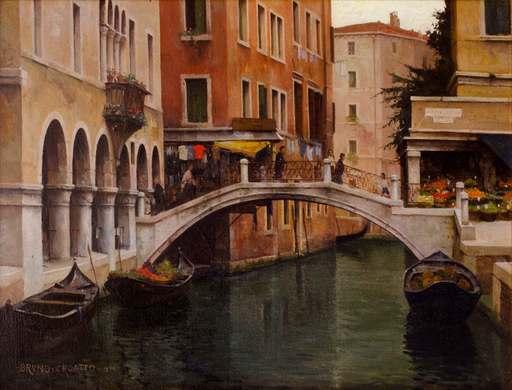 Bruno CROATTO - Gemälde - Canale a Venezia con ponte (1940)