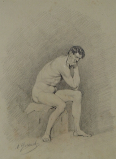 "August GERASCH - Drawing-Watercolor - ""Male Nude"" by August Gerasch, ca 1850"