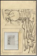 Jean Émile LABOUREUR - Drawing-Watercolor - DESSIN PREPARATOIRE ET GRAVURE: L'INSPECTEUR planche L10