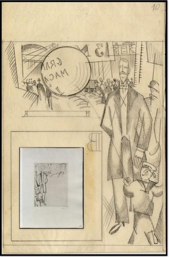 Jean Émile LABOUREUR - Dibujo Acuarela - DESSIN PREPARATOIRE ET GRAVURE: L'INSPECTEUR planche L10