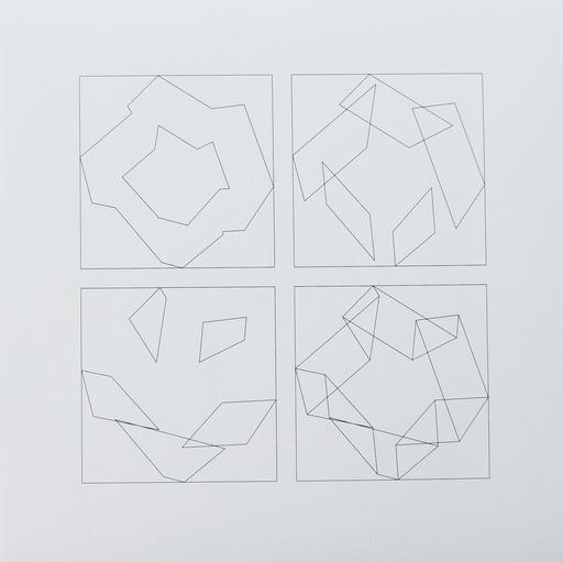 Véra MOLNAR - Grabado - 3 pliages, 4 façons D, Nr. 4