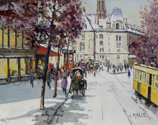 Charles MALLE - Pintura - Boulevard Saint-Michel, le train jaune