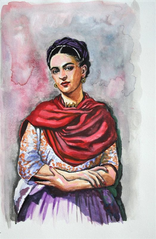 Nathalie BIBOUGOU - Drawing-Watercolor - « Frida »